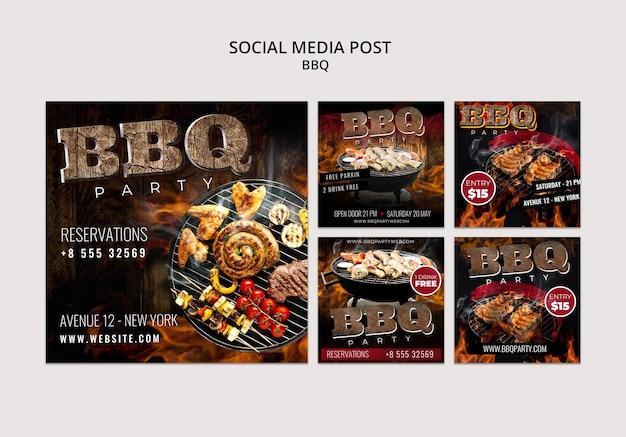 Modelo de postagem de mídia social para churrasco