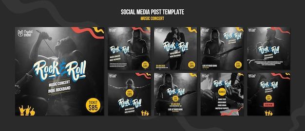 Modelo de postagem de mídia social para concertos de música rock