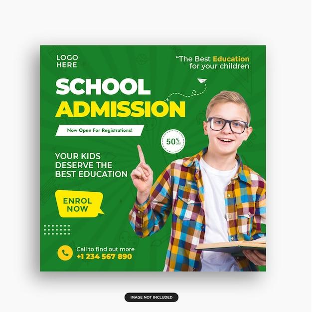 Modelo de postagem de mídia social para educação escolar admissão