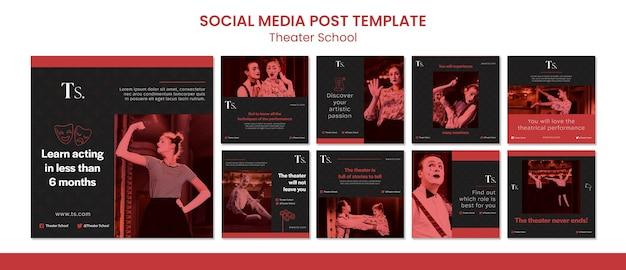 Modelo de postagem de mídia social para escola de teatro