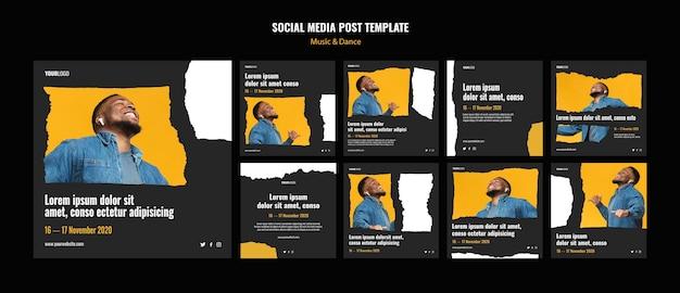 Modelo de postagem de mídia social para eventos de música e dança