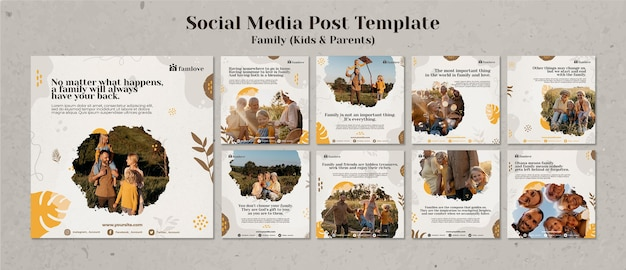 Modelo de postagem de mídia social para família com pais e filhos