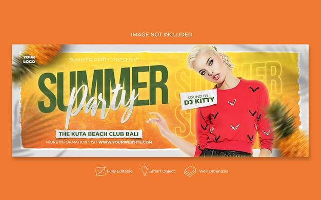 Modelo de postagem de mídia social para festa de verão no facebook