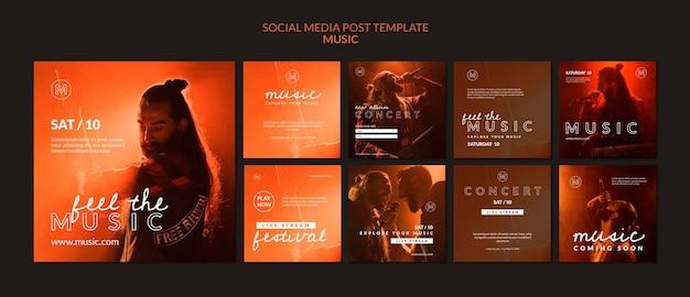 Modelo de postagem de mídia social para festival de música