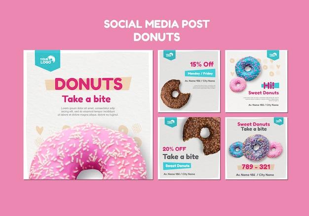 Modelo de postagem de mídia social para loja de donuts
