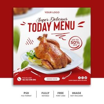 Modelo de postagem de mídia social para menu de comida de restaurante delicioso