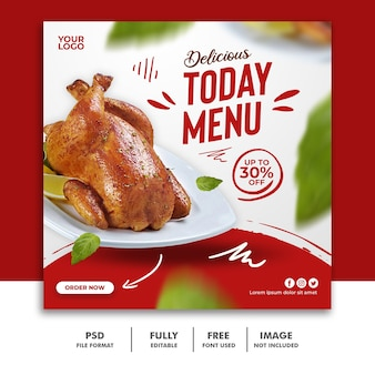 Modelo de postagem de mídia social para menu de comida de restaurante especial delicioso