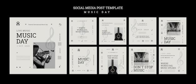 Modelo de postagem de mídia social para o dia da música