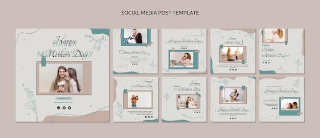 Modelo de postagem de mídia social para o dia das mães