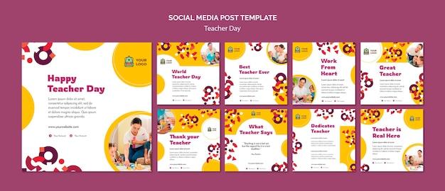 Modelo de postagem de mídia social para o dia do professor