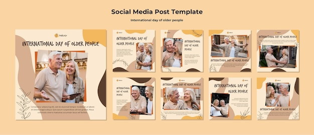 Modelo de postagem de mídia social para o dia internacional do idoso