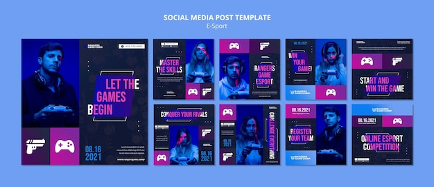 Modelo de postagem de mídia social para player de videogame