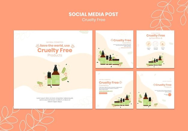 Modelo de postagem de mídia social para produtos livres de crueldade