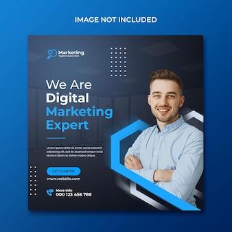Modelo de postagem de mídia social para promoção de agência de marketing digital