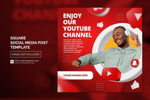 Modelo de postagem de mídia social para promoção de canal do youtube