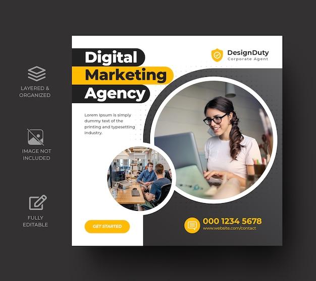 Modelo de postagem de mídia social para promoção de marketing de negócios digitais