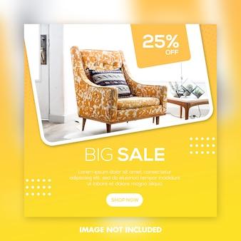 Modelo de postagem de mídia social para venda de móveis