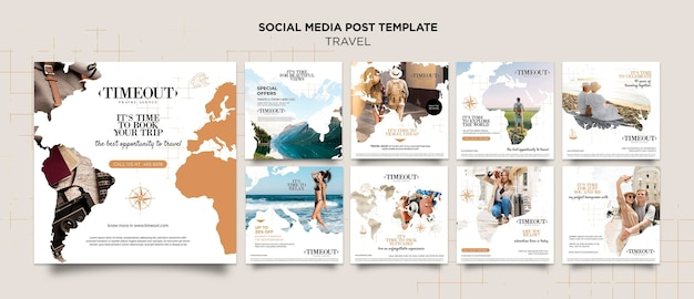 Modelo de postagem de mídia social para viajar pelo mundo