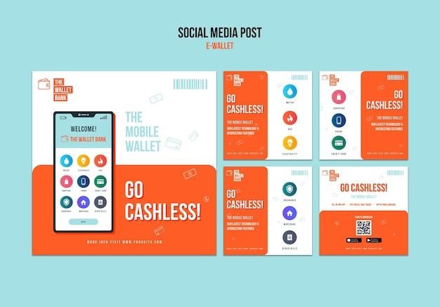 Modelo de postagem de mídia social sem dinheiro