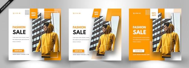 Modelo de postagem de mídia social. venda de moda design elegante