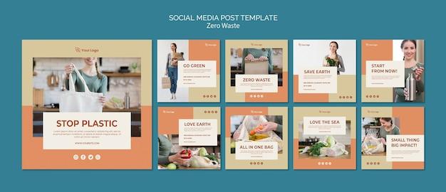 Modelo de postagem de mídia social zero desperdiçada