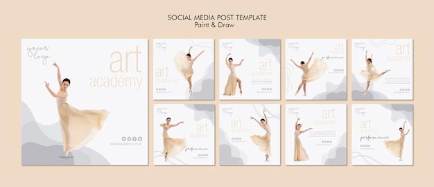 Modelo de postagem de mídias sociais da academia de arte Psd Premium