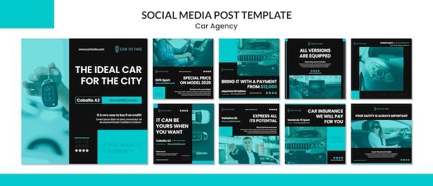 Modelo de postagem de mídias sociais da agência de automóveis