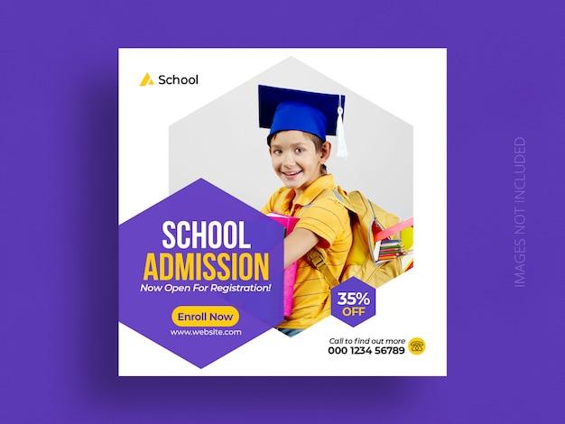Modelo de postagem de mídias sociais de admissão na educação escolar