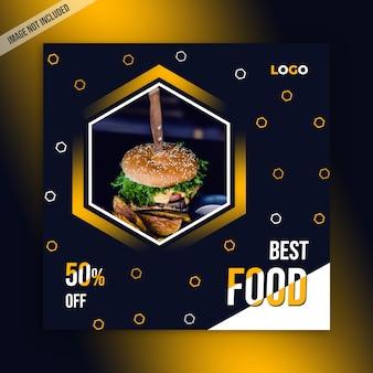 Modelo de postagem de mídias sociais de alimentos