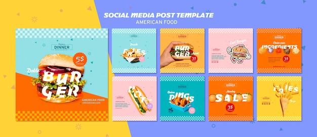 Modelo de postagem de mídias sociais de comida americana