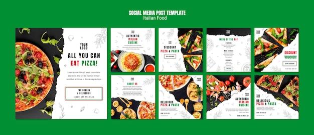 Modelo de postagem de mídias sociais de comida italiana