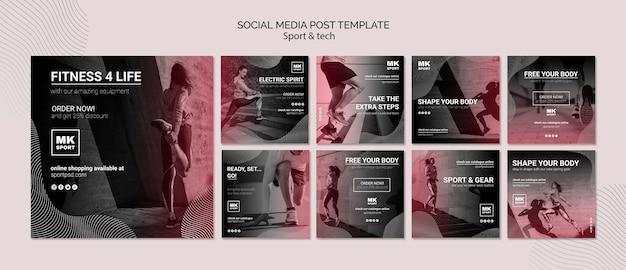 Modelo de postagem de mídias sociais de esporte e tecnologia