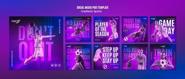 Modelo de postagem de mídias sociais de esporte gradiente