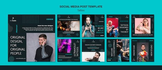 Modelo de postagem de mídias sociais de estúdio de tatuagem