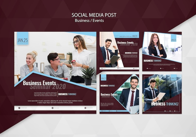 Modelo de postagem de mídias sociais de eventos de negócios