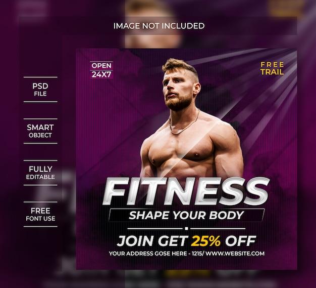Modelo de postagem de mídias sociais de fitness