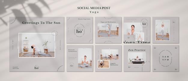 Modelo de postagem de mídias sociais de ioga