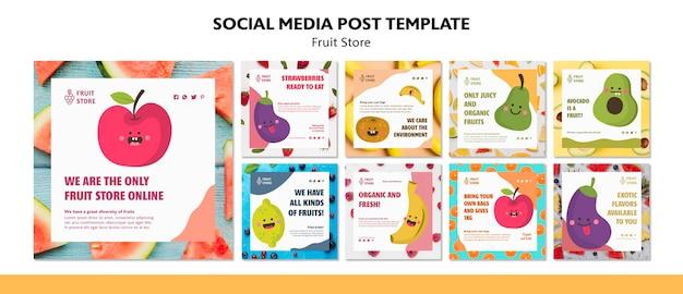 Modelo de postagem de mídias sociais de loja de frutas