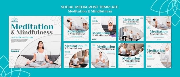 Modelo de postagem de mídias sociais de meditação Psd grátis