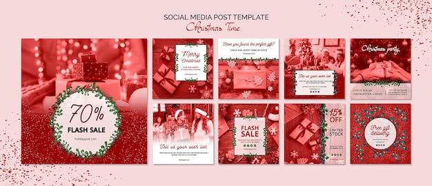 Modelo de postagem de mídias sociais de natal