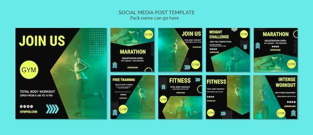 Modelo de postagem de mídias sociais de negócios esportivos