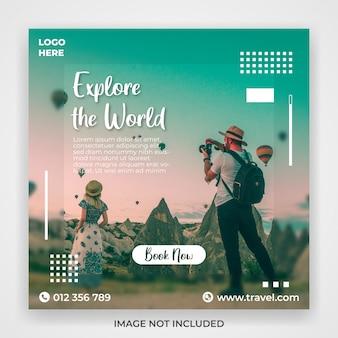 Modelo de postagem de mídias sociais de promoção de viagens e turismo
