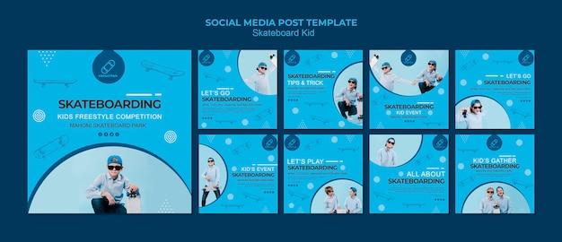 Modelo de postagem de mídias sociais de skatista