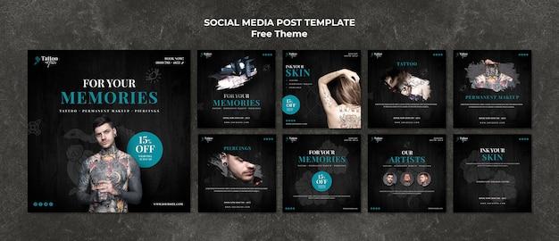 Modelo de postagem de mídias sociais de tatuagem