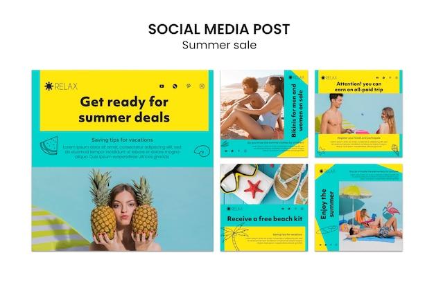 Modelo de postagem de mídias sociais de verão