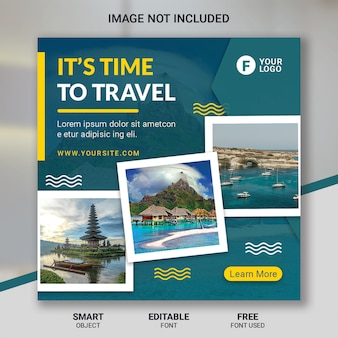 Modelo de postagem de mídias sociais de viagens de turismo