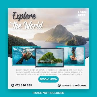 Modelo de postagem de mídias sociais de viagens e passeios