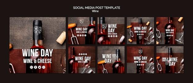 Modelo de postagem de mídias sociais de vinho