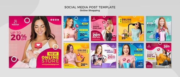 Modelo de postagem de mídias sociais do conceito de compras online