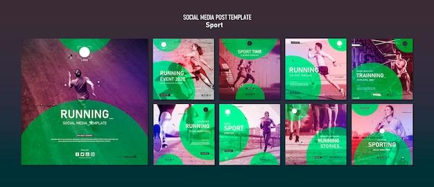 Modelo de postagem de mídias sociais do esporte